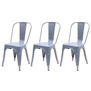 Kit 3 Cadeiras Para Mesa De Jantar Cozinha Sala Escrivaninha Tolix Iron Industrial Cinza