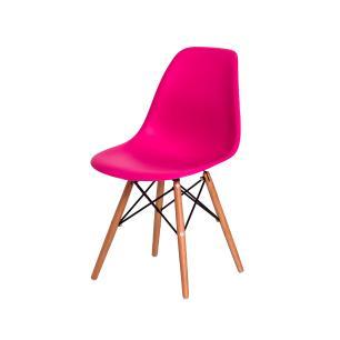 Cadeira de Jantar Eiffel Eames DSW Pink Base Madeira