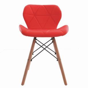 Kit 4 Cadeiras Charles Eames Slim Base Madeira Vermelha