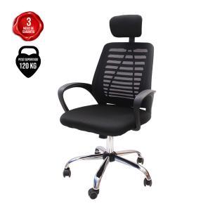 Cadeira De Escritório Presidente Tela Mesh Simples Com Apoio e Sistema Relax Ribs Preta