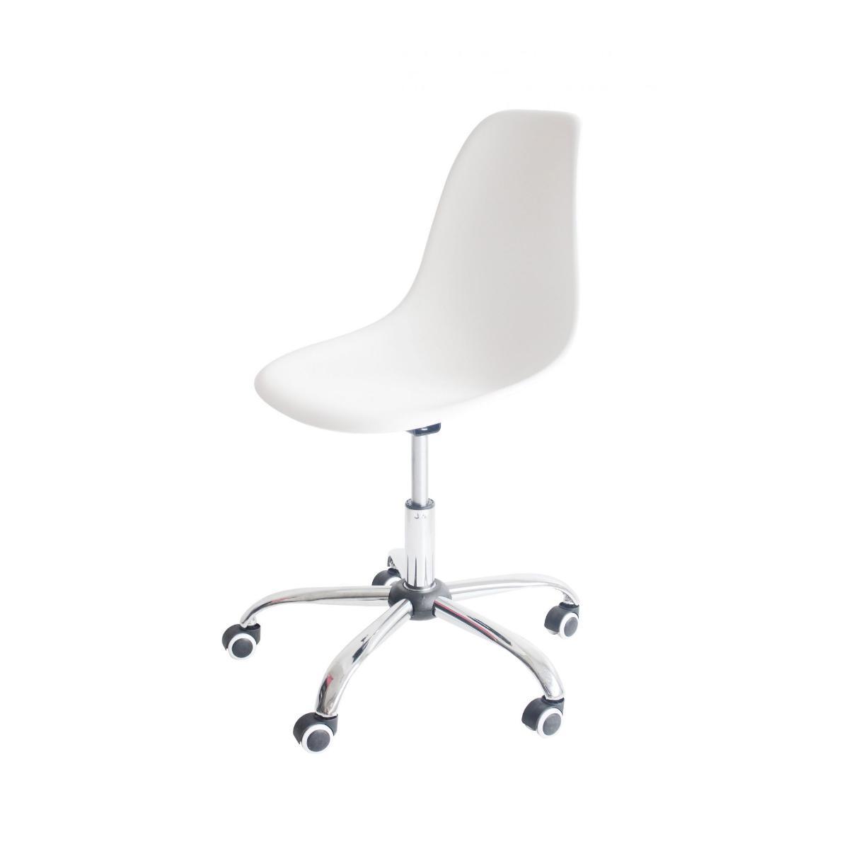 Cadeira Eiffel Office Eames Branca Base Cromada Giratória