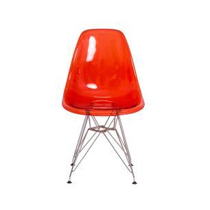 Cadeira Eiffel Eames DSR Vermelho Translúcido Base Cromada
