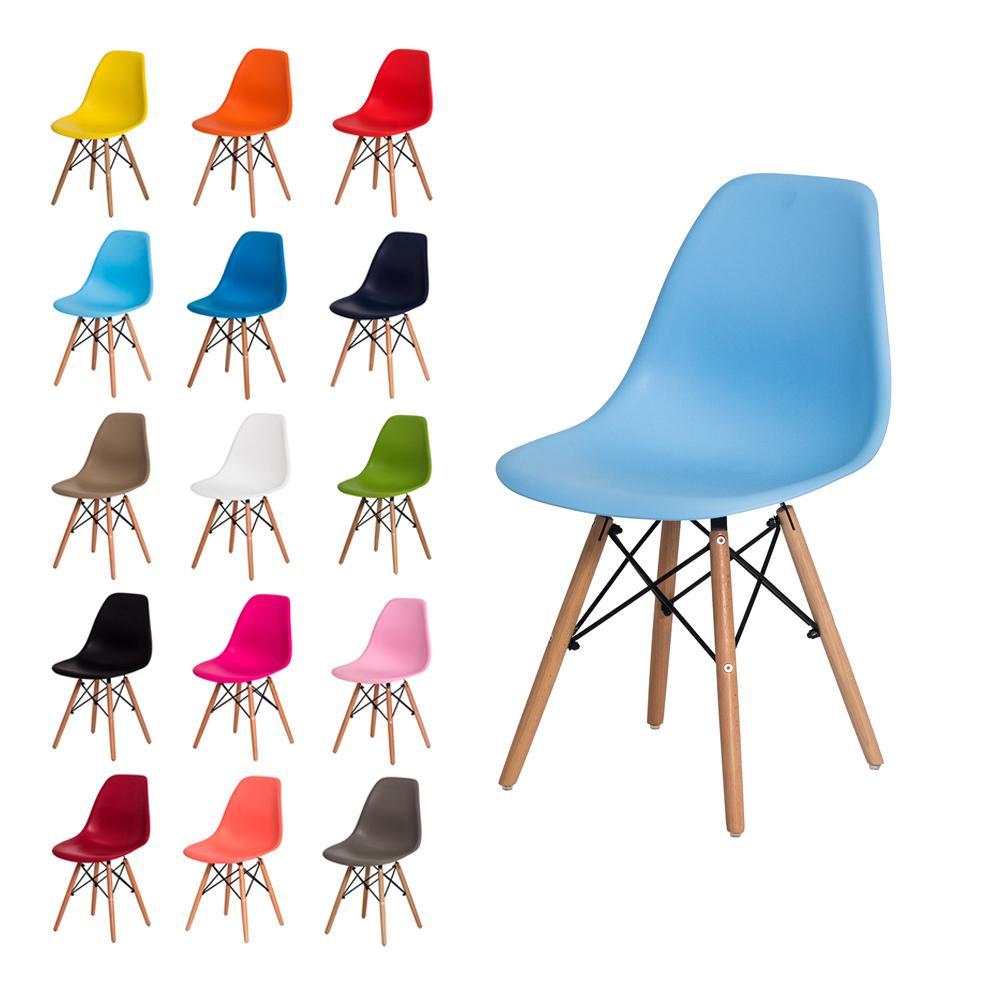 Cadeira Eiffel Dsw Eames Azul Claro S/Braço Base Madeira