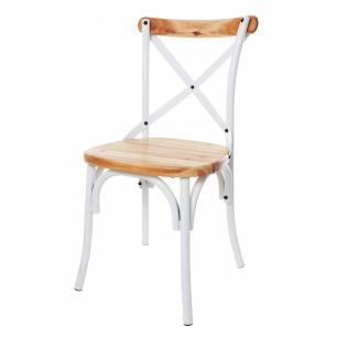 Cadeira Cross Metal Branca Com Assento De Madeira