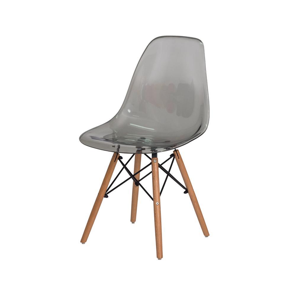 Cadeira Eiffel Eames DSW Preto Translúcido Base Madeira