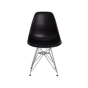 Kit 2 Cadeiras Eiffel Eames Preta Base Cromada