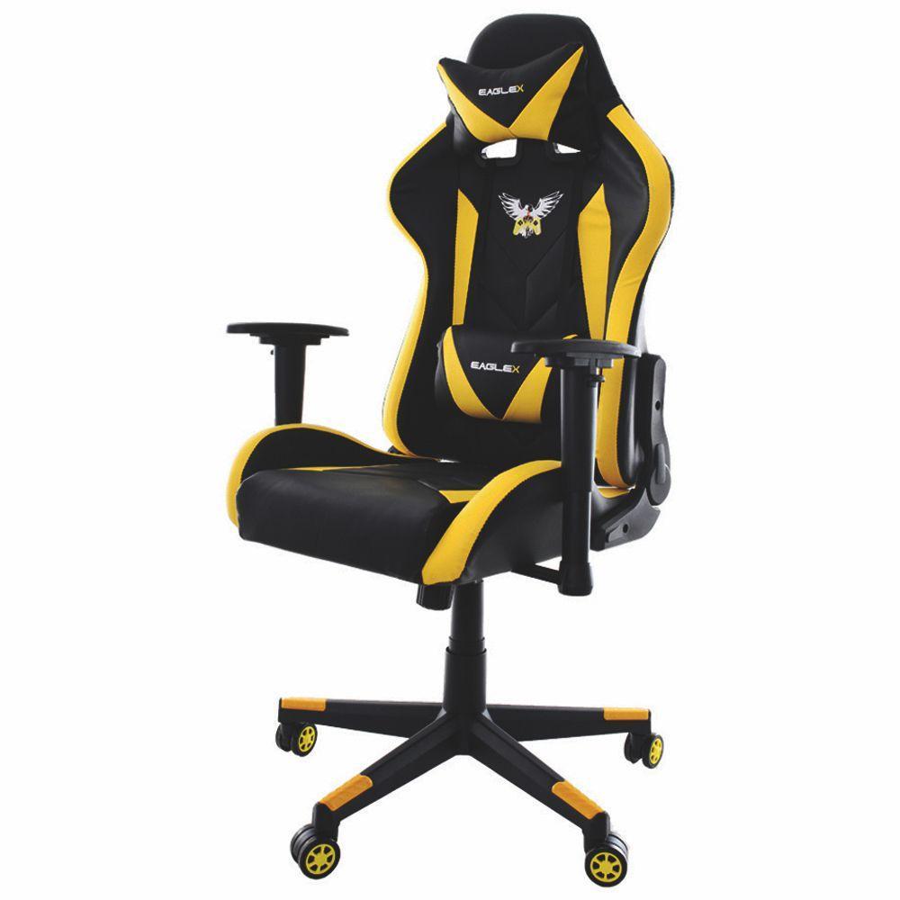 Cadeira Gamer Pro EagleX Amarela Braços Ajustáveis Reclináveis