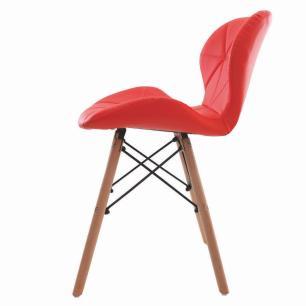 Kit 3 Cadeiras Charles Eames Slim Base Madeira Vermelha