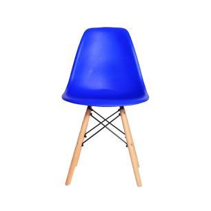 Cadeira Charles Eames Eiffel Azul Bic Base Madeira