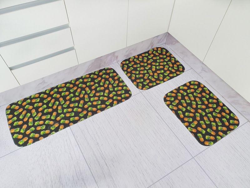 Kit de Tapete para Cozinha 3 peças Tecil Abacaxi