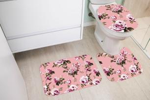 Kit de Tapete para Banheiro 3 peças Decore Romantico Rose
