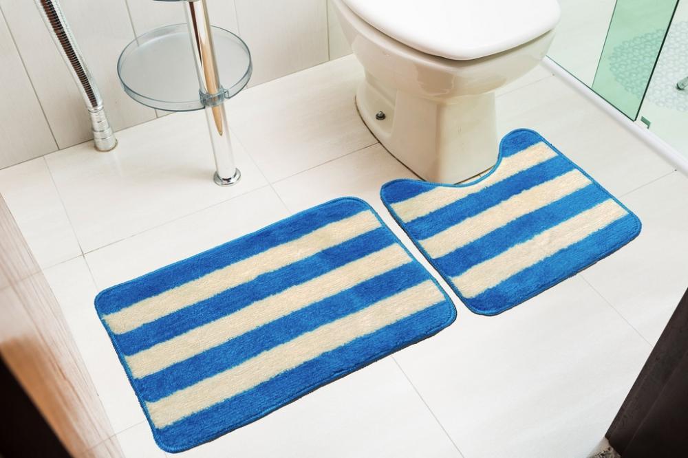 Kit de tapetes para banheiro 2 peças Topázio Azul Turquesa