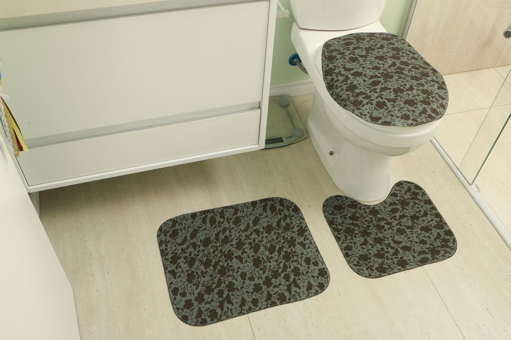Kit de Tapete para Banheiro 3 peças Tecil Verde Musgo