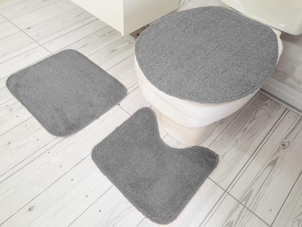 Kit de Tapete para Banheiro 3 peças Algodão color Cinza
