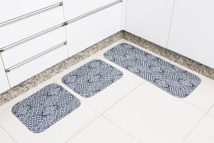 Kit de Tapete para Cozinha 3 peças Silver Porcelanato Azul