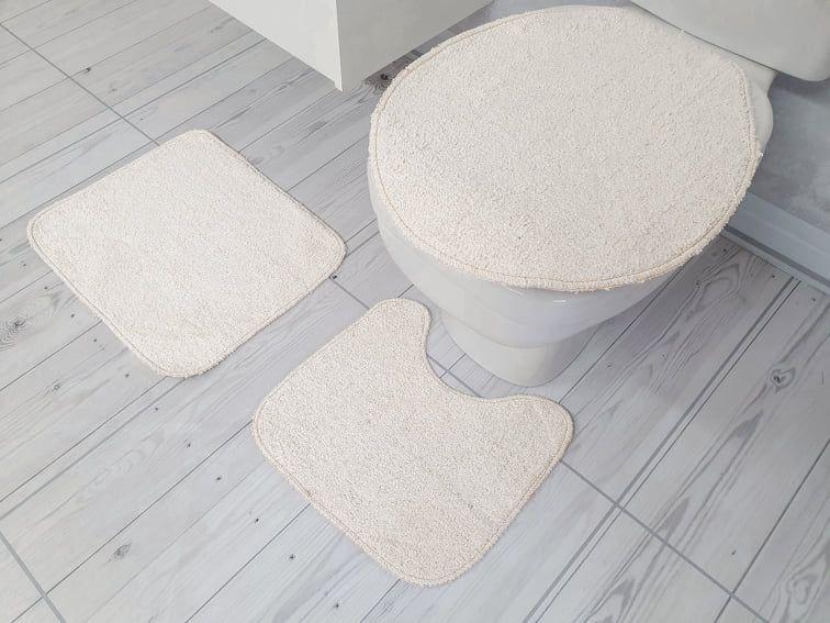 Kit de Tapete para Banheiro 3 peças Algodão color Cru