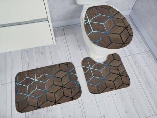 Kit de Tapete para Banheiro 3 peças Decore Fashion Marrom