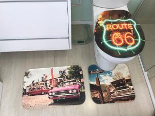 Kit de Tapete para Banheiro 3 peças Decore Rota 66