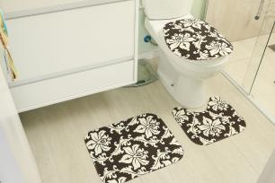 Kit Tapetes para Banheiro 3 peças Tecil Mandala Preto