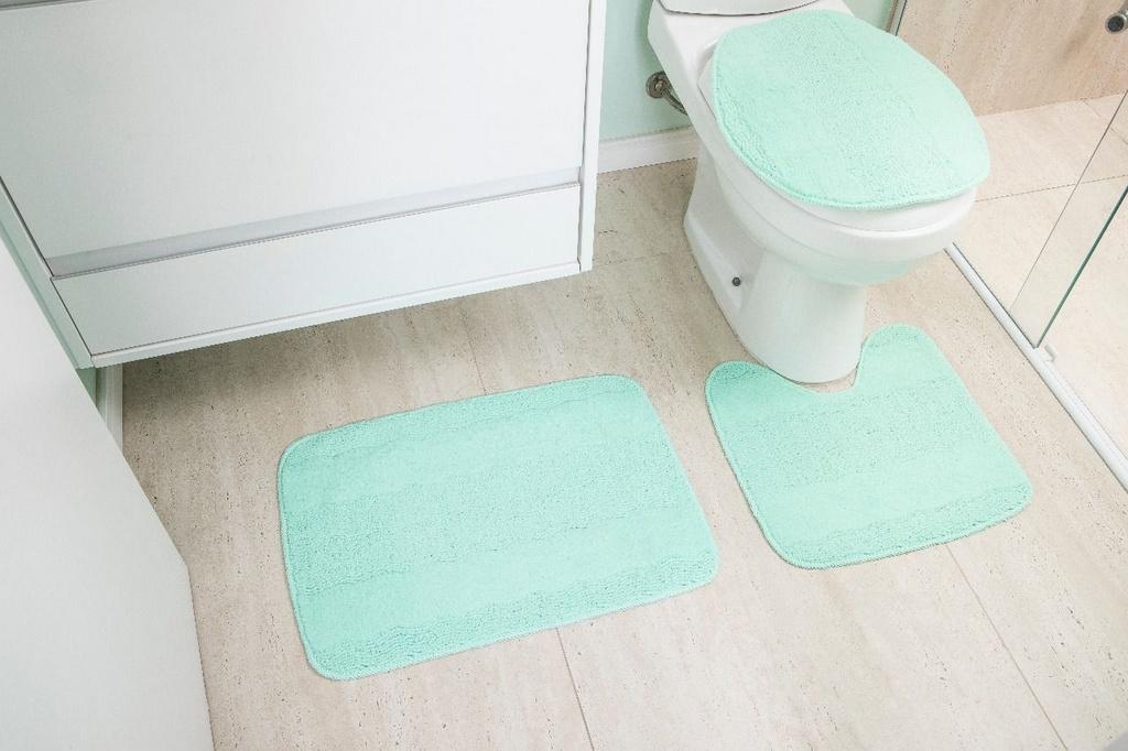 Kit de Tapete para Banheiro 3 peças Esmeralda Azul