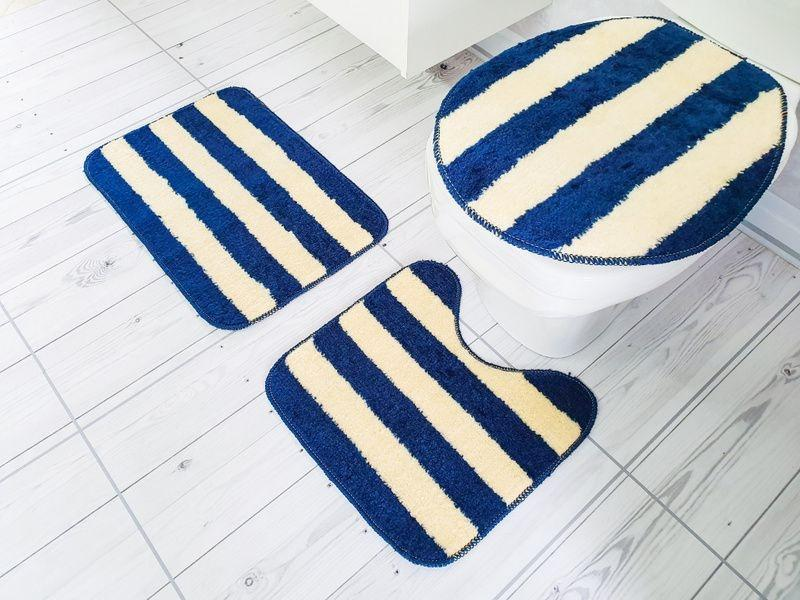 Kit Tapetes para Banheiro 3 peças Topazio Azul