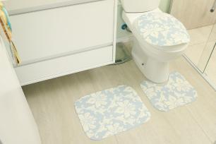 Kit de Tapete para Banheiro 3 peças Tecil Mandala Azul