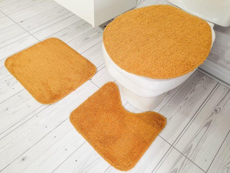 Kit de Tapete para Banheiro 3 peças Algodão color Ouro