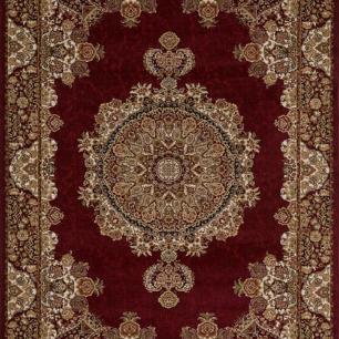 Tapete Persa Kerman Vermelho com Detalhes Bege - 100x150cm