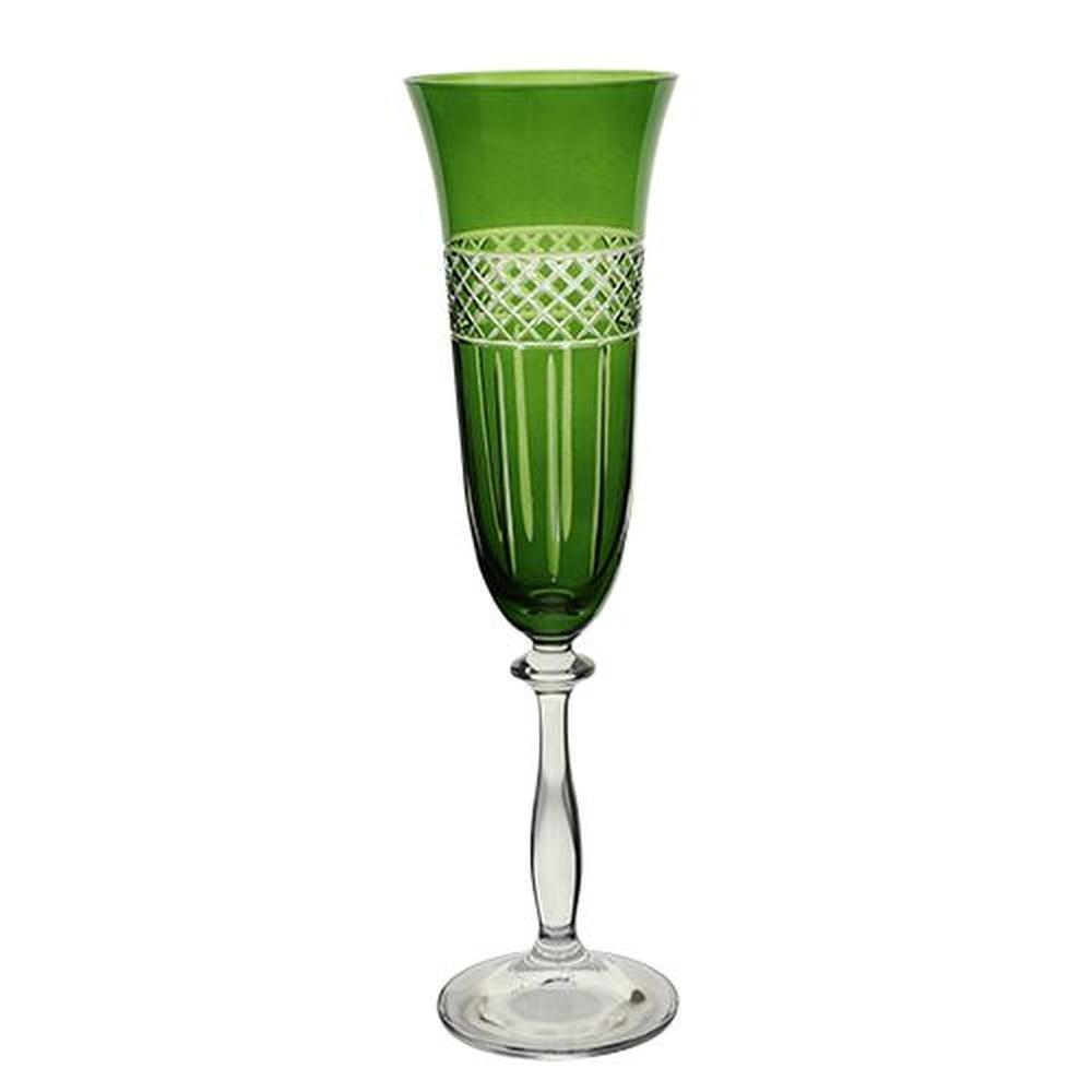 Taça para Champanhe Angela Lapidada em Cristal - 190ml A24,5cm