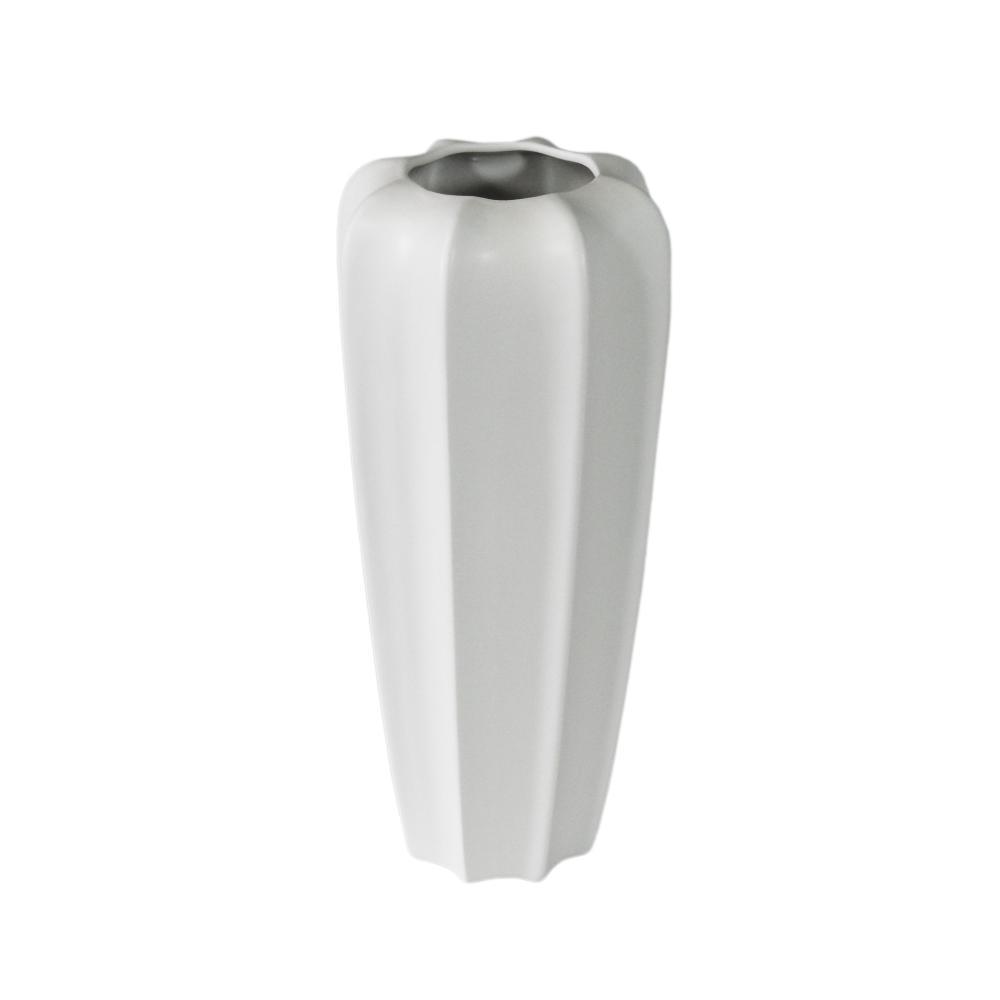 Vaso Decorativo em Cerâmica Branca Grande - 40x40cm