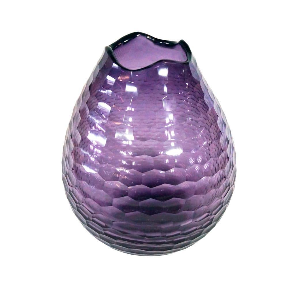 Vaso Decorativo em Vidro na Cor Violeta - 25x20cm