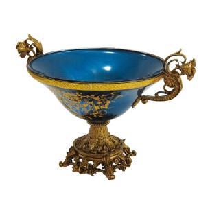 Centro de Mesa em Cristal Azul e Dourado com Adornos em Bronze - 48x25cm