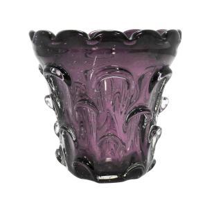 Vaso em Murano Roxo com Detalhes Dourado - 17x17x17cm