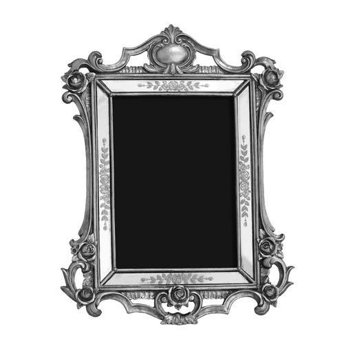 Porta Retrato Revestido em Resina Prata - 29,5x23cm