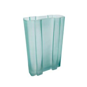 Vaso Decorativo em Vidro na Cor Azul Claro em Relevo - 25x16x07cm