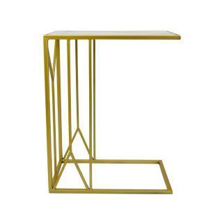 Mesa Auxiliar em Ferro Dourado com Tampo em Madeira - 64X50X32cm