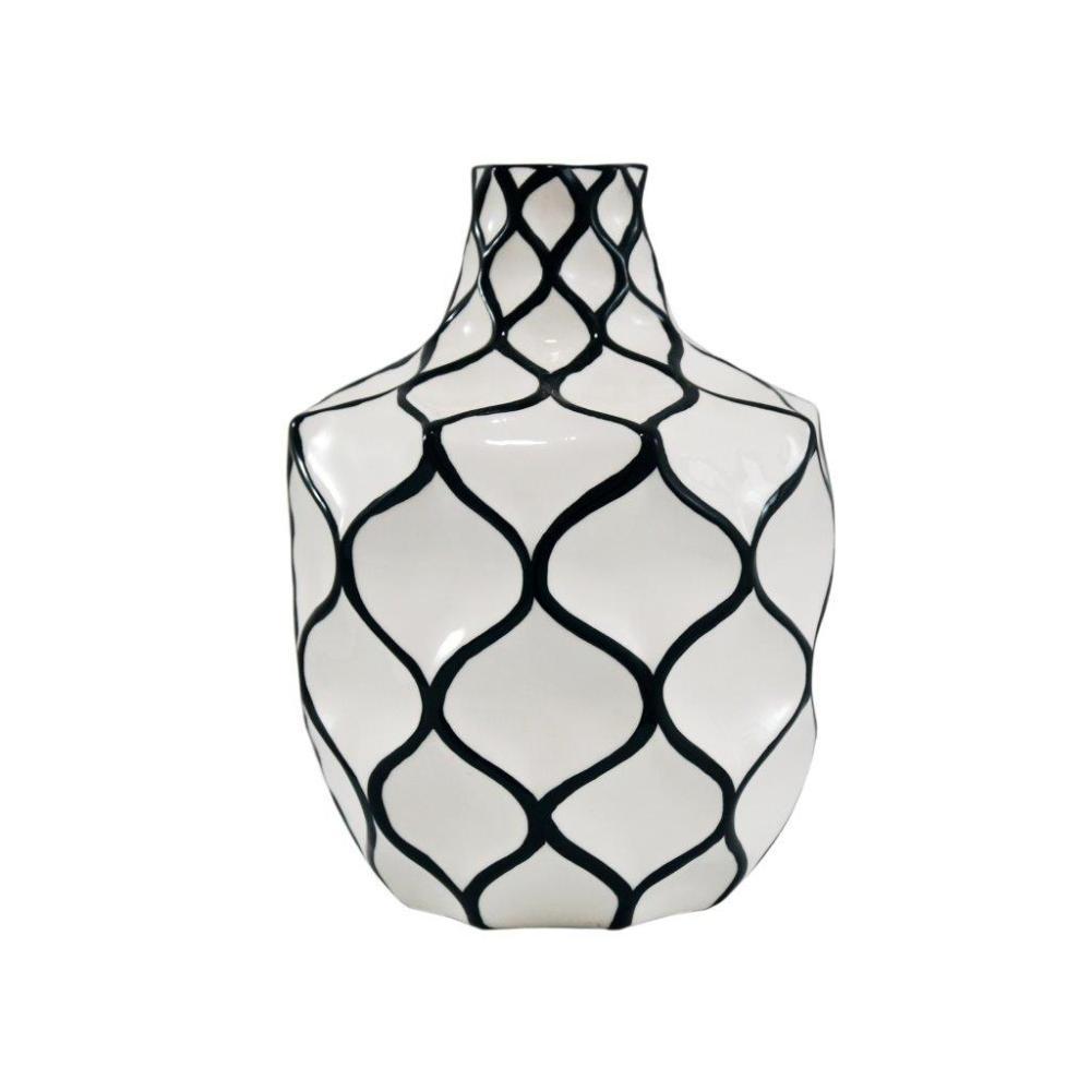 Vaso Decorativo Branco com Detalhes em Preto - 23x18x18cm