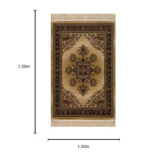 Tapete Persa Qom Bege com Detalhes Vermelho - 100x150cm