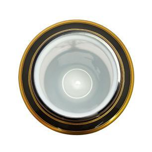 Vaso Decorativo em Vidro Branco e Preto com Detalhes Dourado - 27x15cm