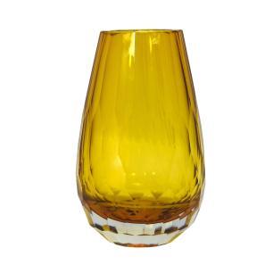 Vaso Decorativo Âmbar em Vidro Facetado - 20x10x10cm