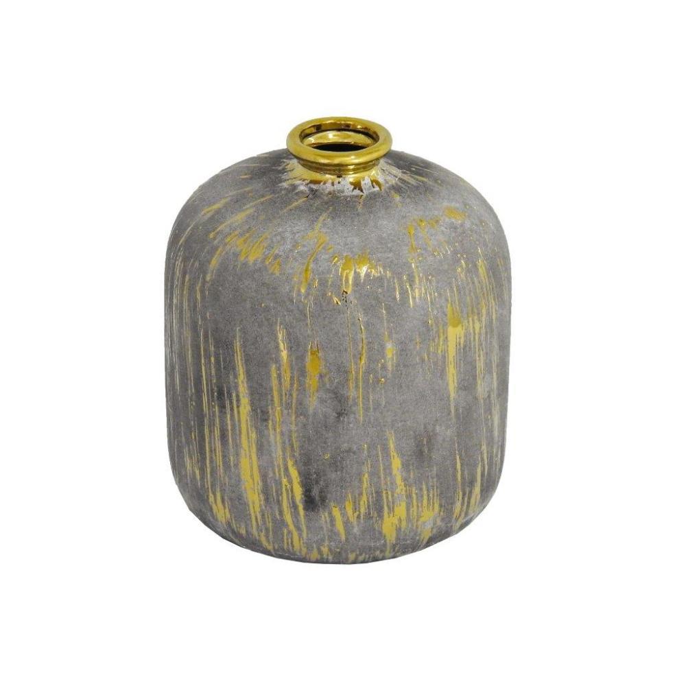 Vaso Rústico em Cerâmica com Detalhes em Dourado - 20x16x16cm