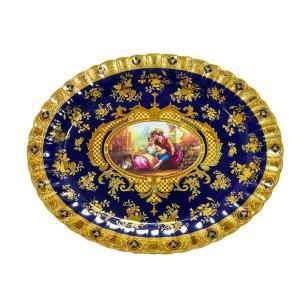 Sopeira com Bandeja em Porcelana Azul e Dourado - 34x44x35cm