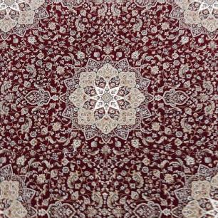 Tapete Persa Redondo Vermelho e Bege - 150x150cm