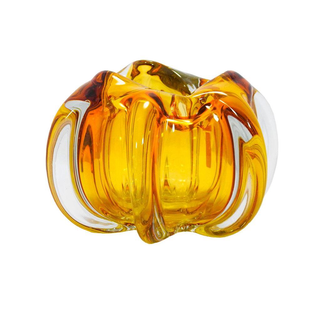 Vaso em Vidro Murano na Cor Âmbar -20x12cm