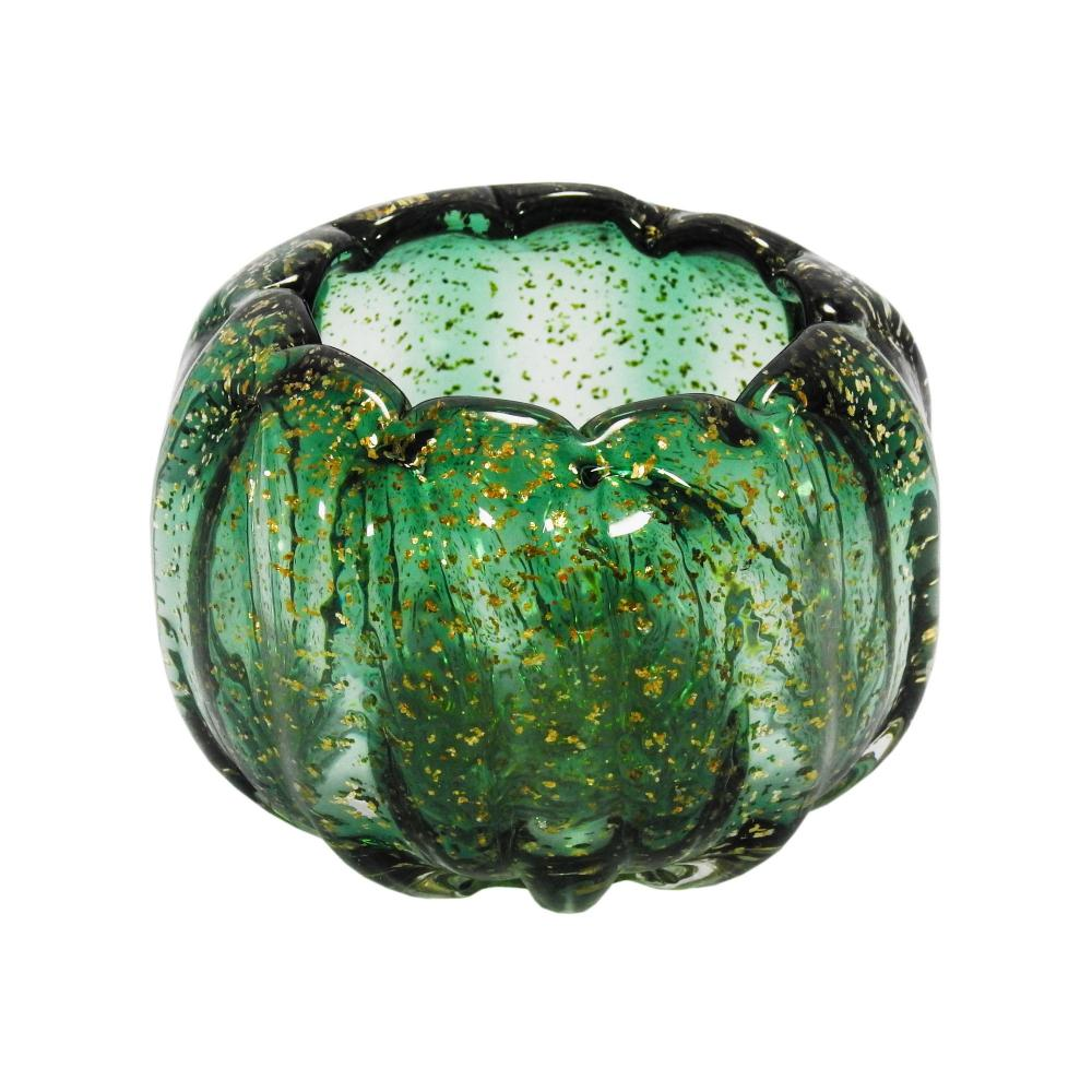 Vaso em Murano Verde com Detalhes Dourado - 13x11x13cm