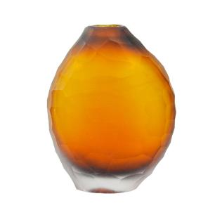 Vaso Decorativo em Vidro na Cor Âmbar - 15x11x6cm
