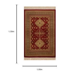 Tapete Persa Bege com Detalhes em Vermelho - 100x150cm