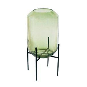 Vaso Decorativo em Vidro na Cor Verde - 46x20cm