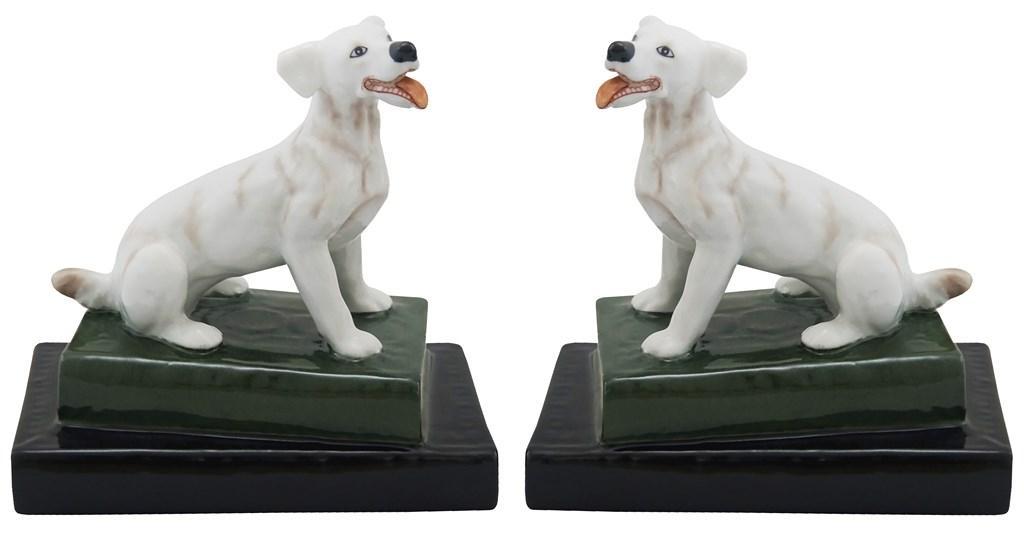 Par De Cachorro Em Porcelana Branco