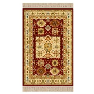 Tapete Persa Vermelho com Detalhes Bege - 67x120cm